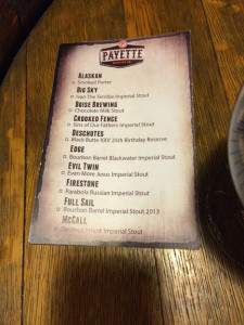 Payette Brewing Black Friday 2014 Menu
