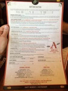 Auburn Ale House menu